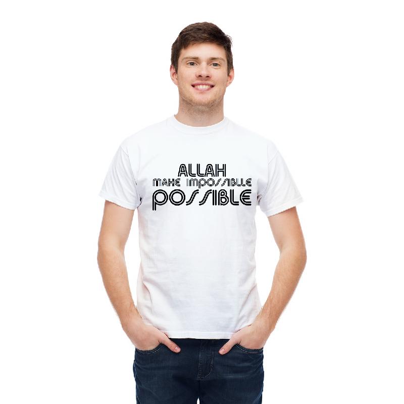 Aitana Kaos Pria Muslim POSSIBLE Bahan Katun warna Putih Abu