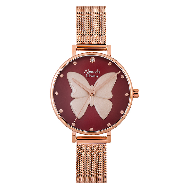 Alexandre Christie AC 2850 LH BRGRE Ladies 3D Butterfly Red Dial Rose Gold Mesh Strap