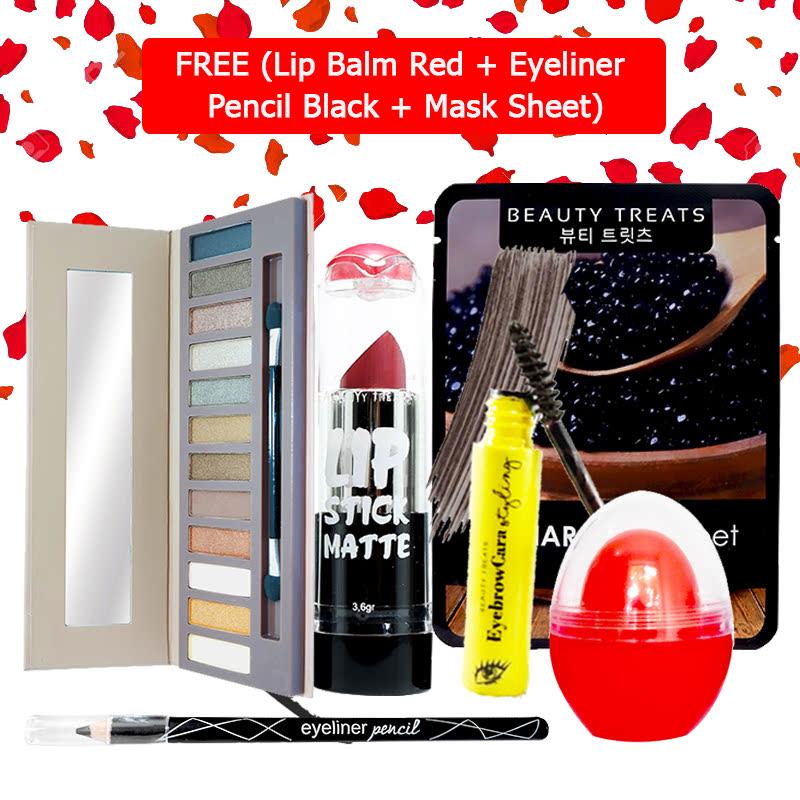 Beauty Treats Make Up Set B (Naked Eyeshadow No. 1 + Lipstick No. 5 + Eyebrowcara Dark Grey Brown) FREE Kiss Me Lip Balm Red + Eyeliner Pencil Black + Mask Sheet Caviar