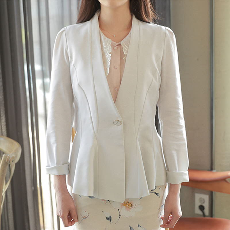 One Button Hurea Jacket-m3926 Ivory