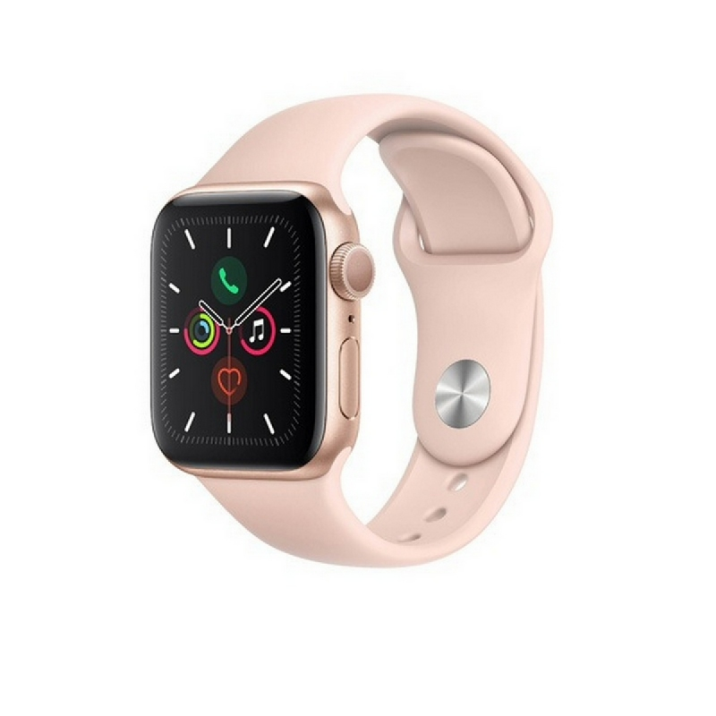Apple Watch Series 5 GPS, 44mm Gold Aluminium Case with Pink Sand Sport Band - S-M & M-L