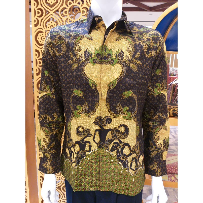 Batik Semar Pria Hem Panjang Full Tricot Pandawa Samarat 61 Hijau Size 3L