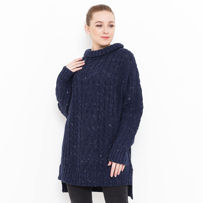 Voyant by Megumi Big Long Chunky Sweater Navy