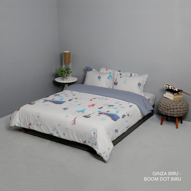 King Rabbit Bed Cover Double 230x230 cm Motif Ginza - Biru