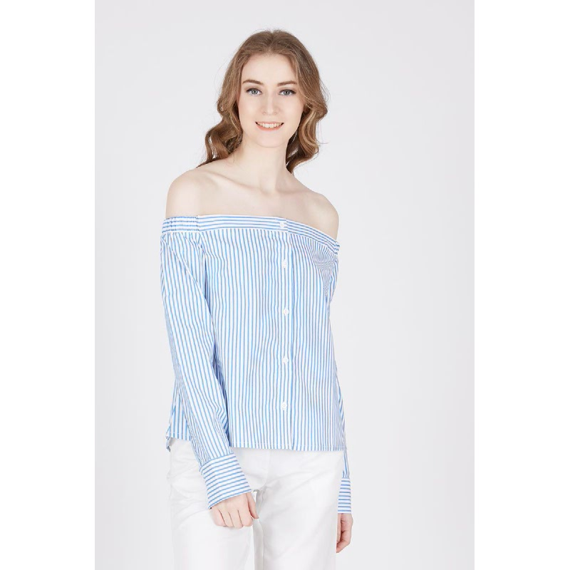 Malana Blue Shoulder Off Shirt