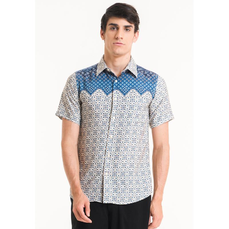 Bateeq Men Short Sleeve Cotton Print Shirt FM003A-SS18 Cream