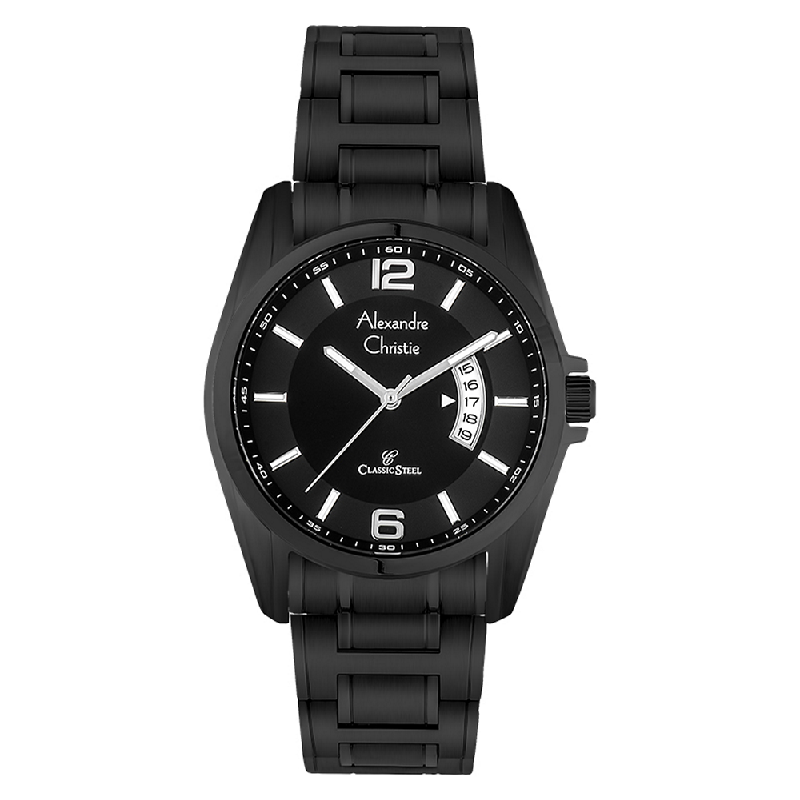 Alexandre Christie AC 8289 MD BIPBA Men Black Dial Black Stainless Steel
