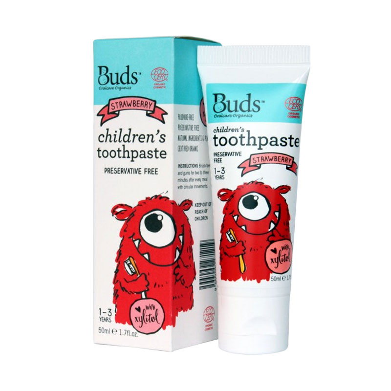 Buds Oralcare Organics - Children's Toothpaste with xylitol ( 1-3 Years ) Strawberry