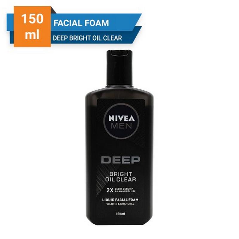 Nivea Men Facial Foam Clean Deep Bright Oil Clear Liquid 150 ml