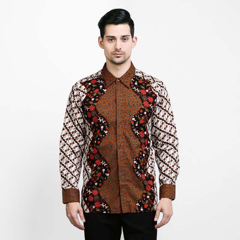 Arjuna Weda Batik Shirt Long Sleeve Alur Parang Brown