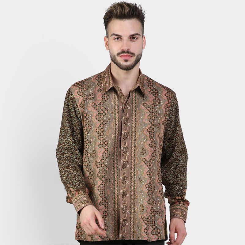 Batik Muda Kmj Sutra Cirebon Shirt Peach