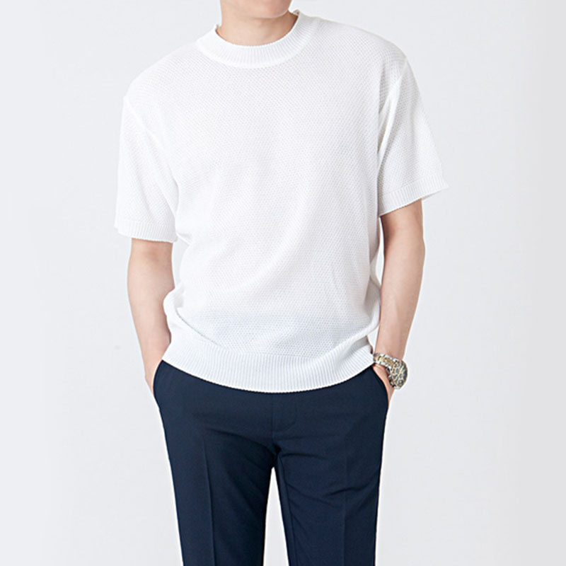 Solid Cable Short Sleeve R-Knit GK7204C - White