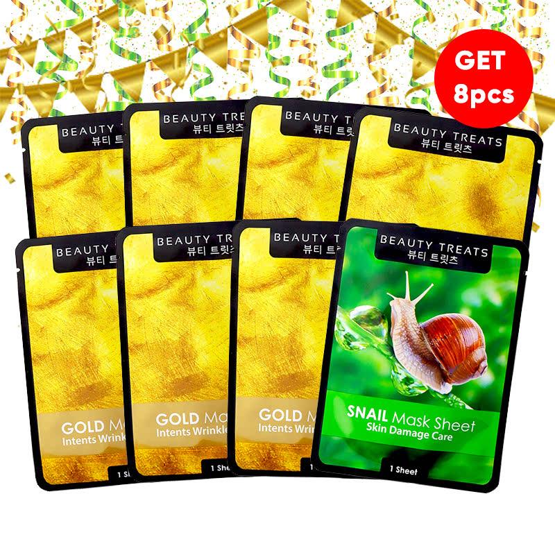 Beauty Treats Mask Sheet Gold (6pcs) FREE Mask Sheet Gold + Snail