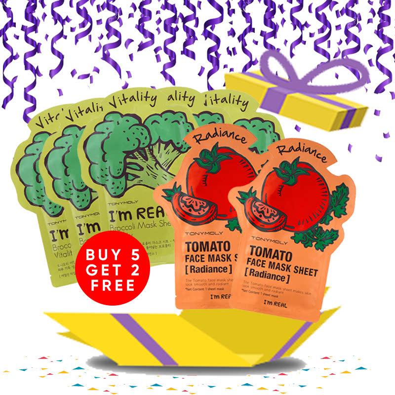 Tony Moly Bundle 5pcs I Am Real Brokolli Mask Sheet Vitality + 2pcs Tomato Mask Sheet Skin Glow