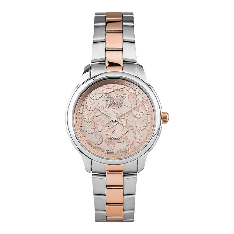 Alexandre Christie AC 2891 LHBTRLN Ladies Beige Butterfly Dial Dual Tone Stainless Steel Strap