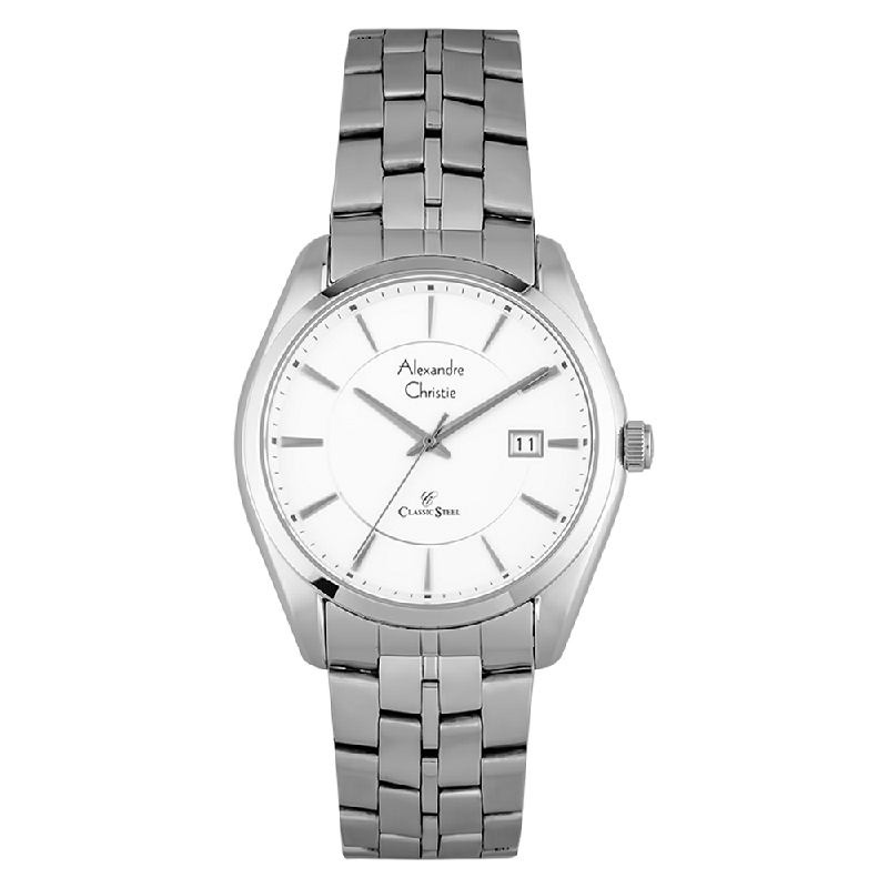 Alexandre Christie AC 8578 MD BSSSL Classic Steel Man White Dial Stainless Steel