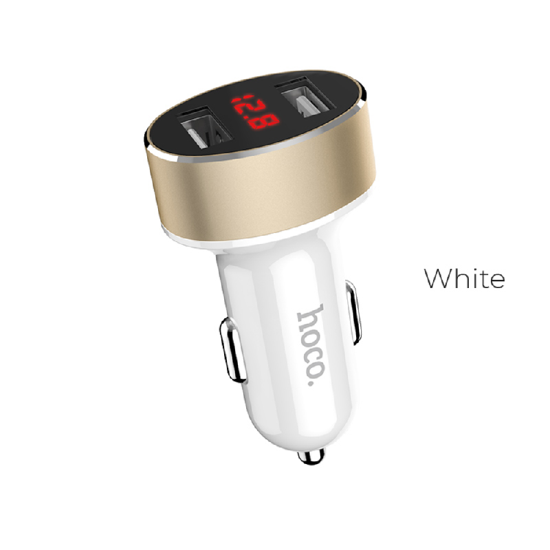 HOCO Car Charger Z26 Dual Port White