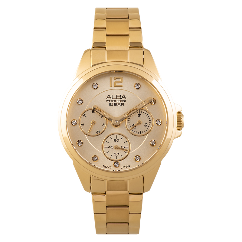 Alba AP6630X1 Ladies Gold Dial Gold Stainless Steel Strap