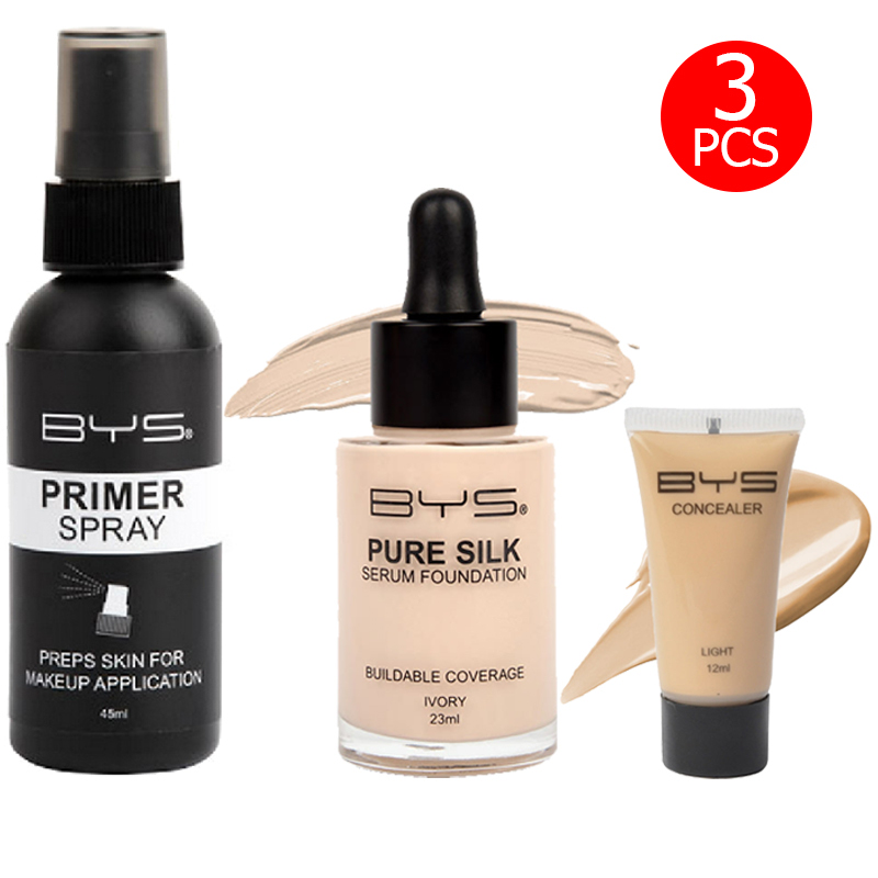 BYS Pure Silk Serum Foundation Buildable Coverage Ivory + Concealer 01 Light + Primer Spray