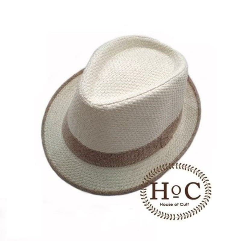 House Of Cuff Topi Fedora Hat Beige List Ratan Fedora Hat
