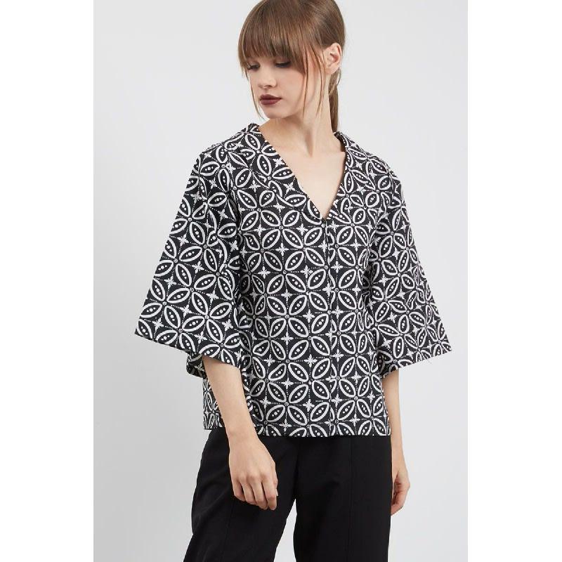 Shifra Batik Top Black