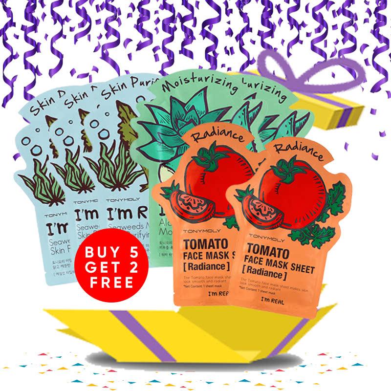 Tony Moly Bundle 3pcs Seaweeds Mask Sheet Skin Purifying + 2pcs Aloe Mask Sheet Moisturizing + 2pcs Tomato Mask Sheet Skin Glow