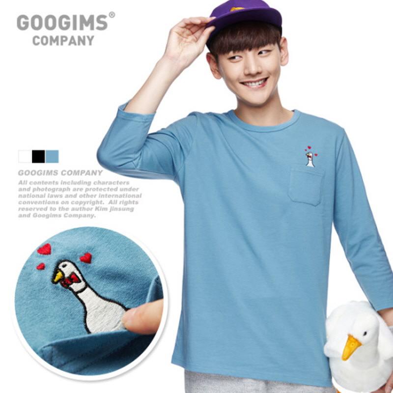 1171_Bowtie Duck Pocket Three Quarter Sleeve T-shirt (G15FMRT902) Dark Blue
