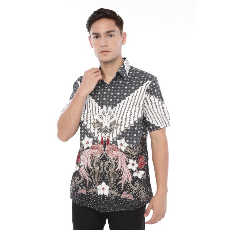 Agrapana Baju Kemeja Batik Pria Cowok Lengan Pendek Modern Premium Couple Original Pekalongan Labda Grey