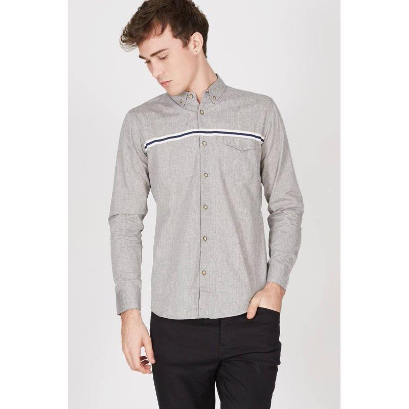 Men Brandon Stripe Long Sleeve Shirt Gray
