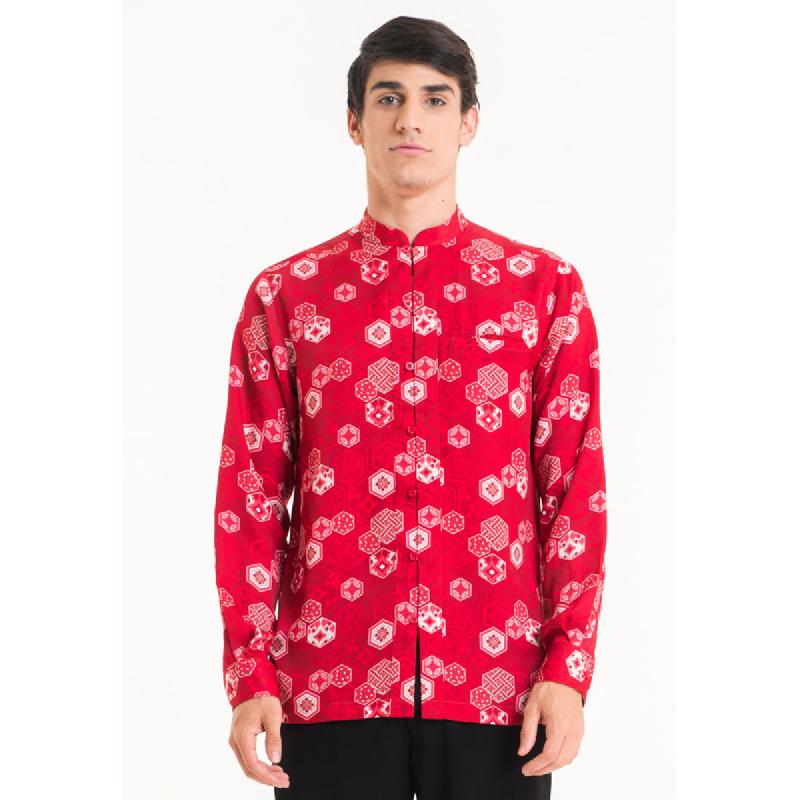 Bateeq Men Long Sleeve Cotton Print Shirt FM001C-SS18 Red