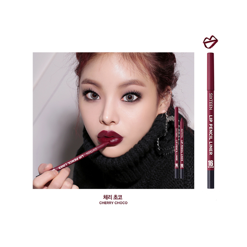 16brand Lip Pencil Liner - Cherry Choco