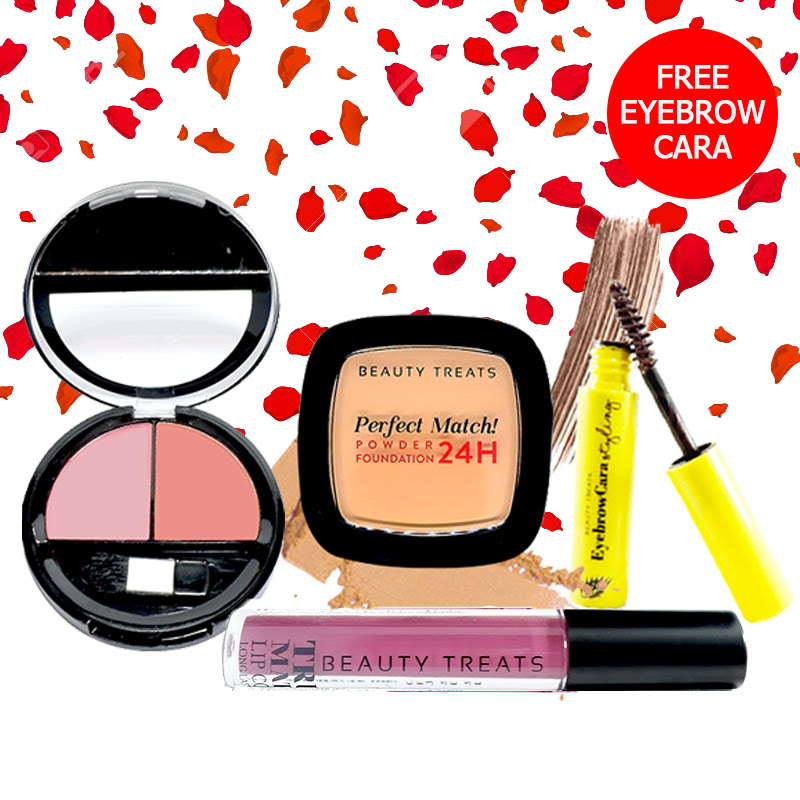 Beauty Treats Make Up Set A (Perfect Match Powder Foundation 24H No. 4 + True Matte Lip Color No. 11 + Duo Blush No. 1) FREE Eyebrowcara Dark Brown