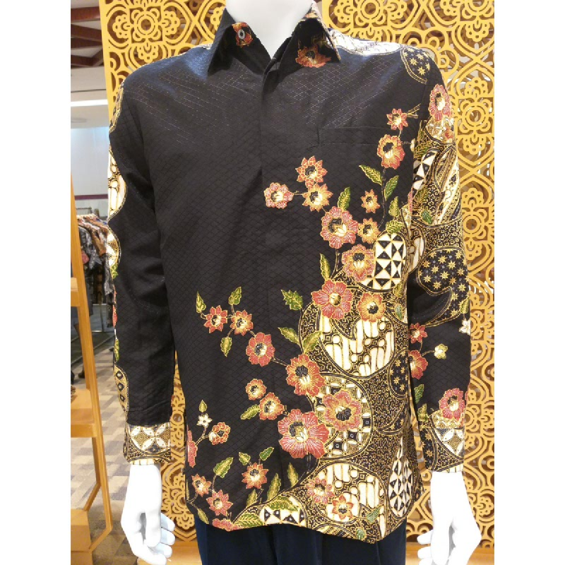 Batik Semar Pria Hem Panjang Doby Kupu Langen Sari 20 Hitam Size XL