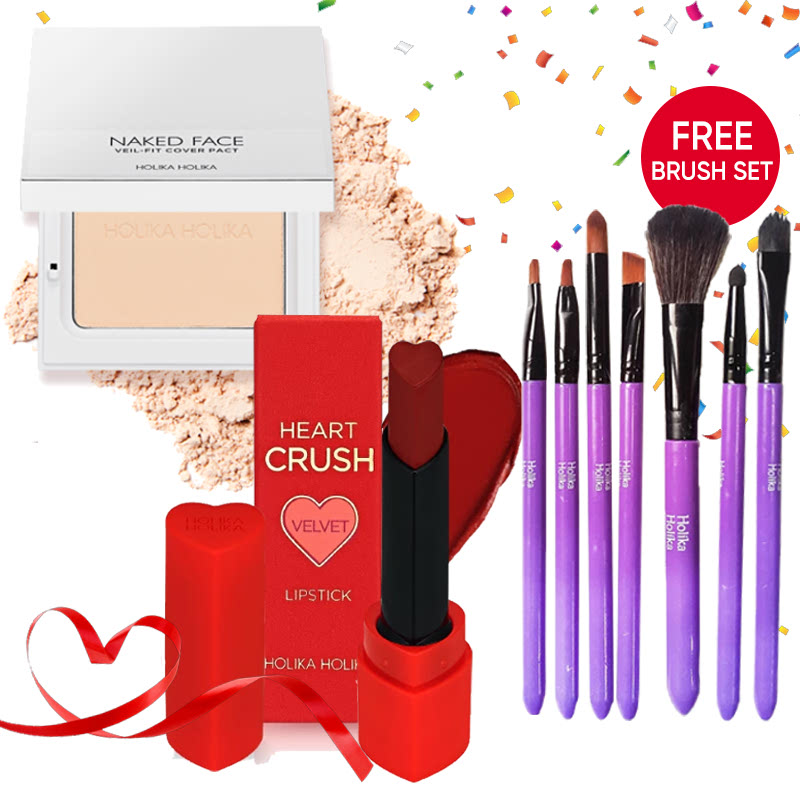 Holika Holika Naked Face Veil Fit Cover Pact 01 Light Beige + Heart Crush Lipstick Comfort Velvet RD01 Bite Me FREE Brush Set Purple