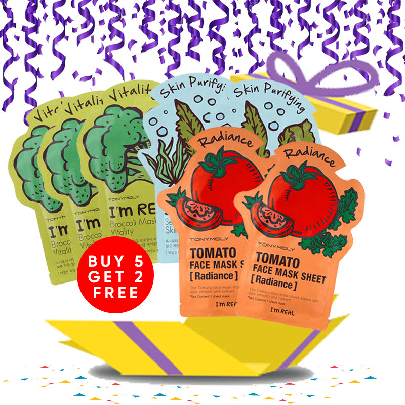 Tony Moly Bundle 3pcs Brokolli Mask Sheet Vitality + 2pcs Seaweeds Mask Sheet Skin Purifying + 2pcs Tomato Mask Sheet Skin Glow