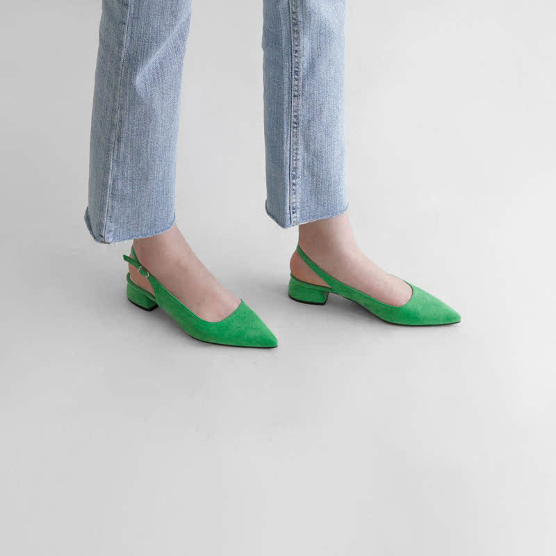SAPPUN Mel Loaded Sling-Back Flats (4cm) - Green
