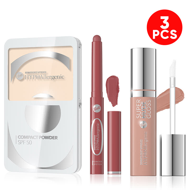 Bell Hypoallergenic Compact Powder SPF-50 02 Golden Ivory + Bell Hypoallergenic Powder Lipstick 02 + Bell Hypoallergenic Super Nude Lip Gloss 02 Smoked Rose