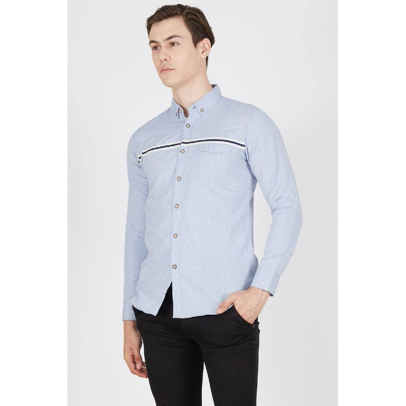 Men Brandon Stripe Long Sleeve Shirt Blue