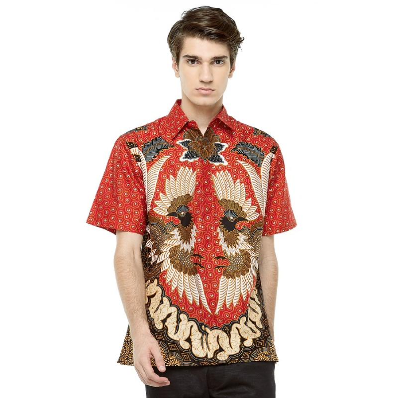 Adinata Batik Aruna Hem Pendek Red