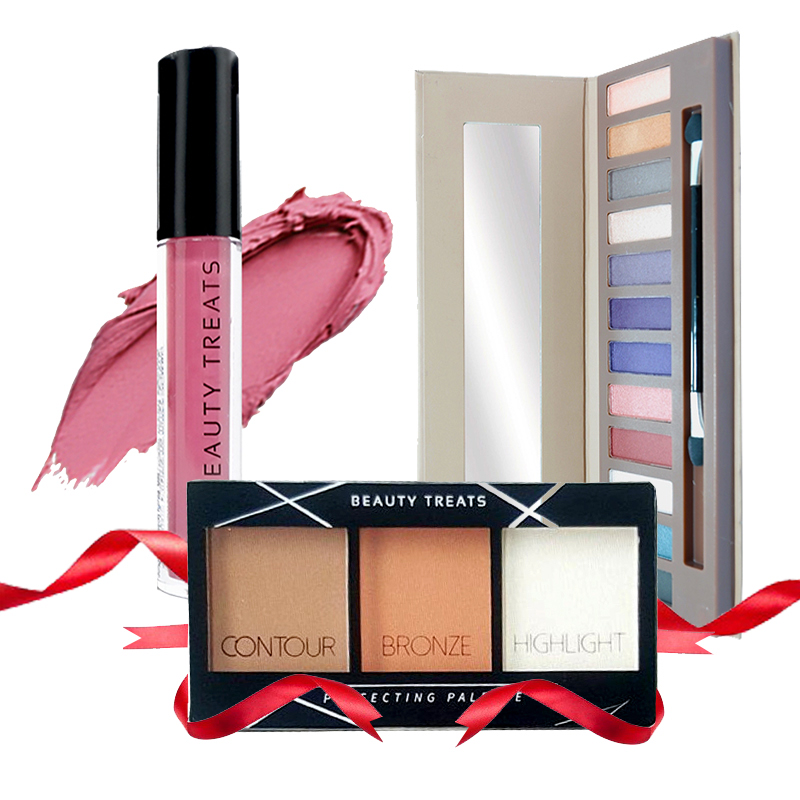 Beauty Treats Naked Eyeshadow No. 02 + Perfecting Pallete No. 01 FREE True Matte Lip Color No. 10