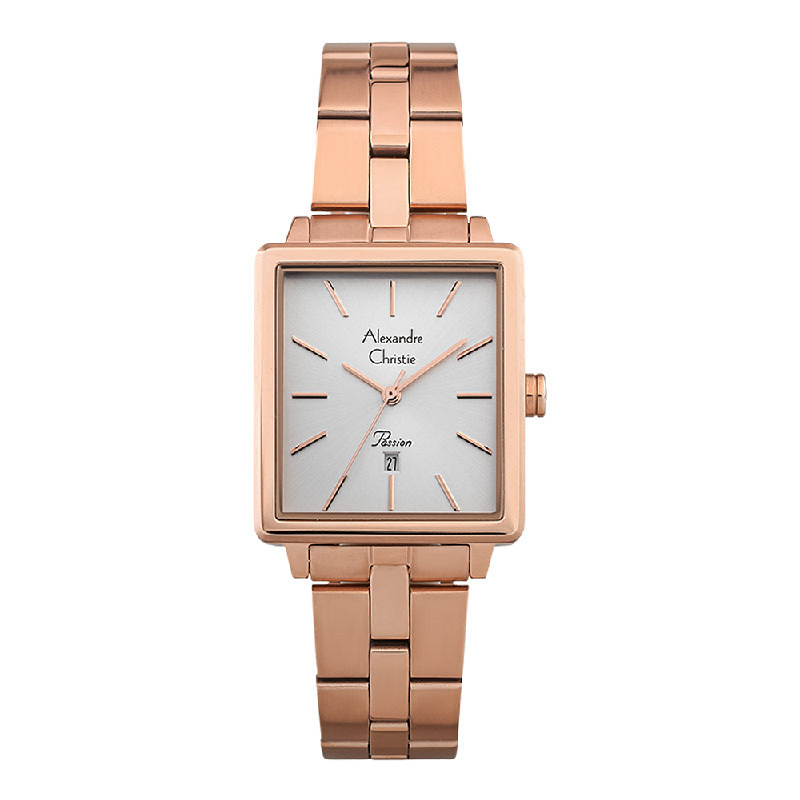 Alexandre Christie Passion AC 2894 LDBRGLN Ladies Silver Dial Rose Gold Stainless Steel Strap