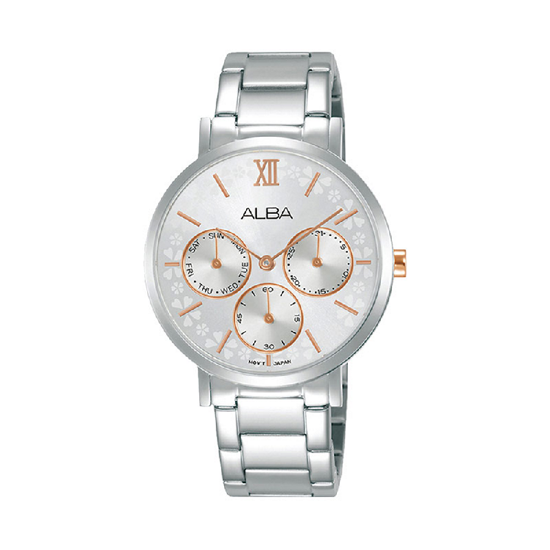 Alba AP6691X1 Ladies Silver Patterned Dial Stainless Steel Strap