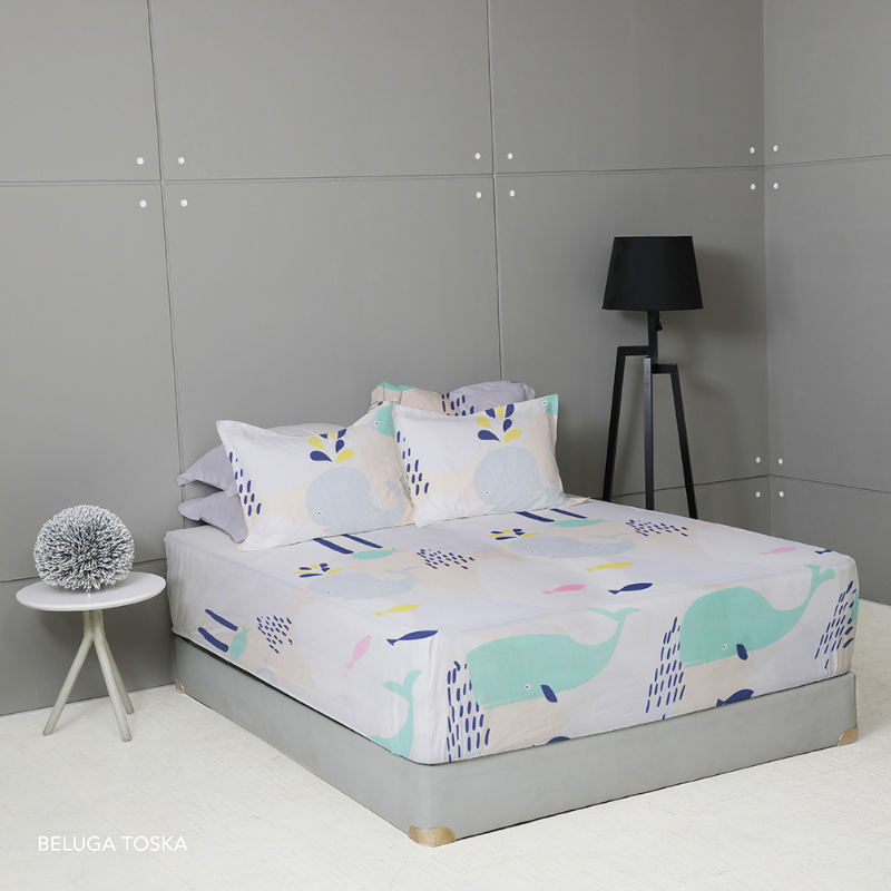 King Rabbit Set Seprei Sarung Bantal King Size 180x200x40 cm Motif Beluga - Toska