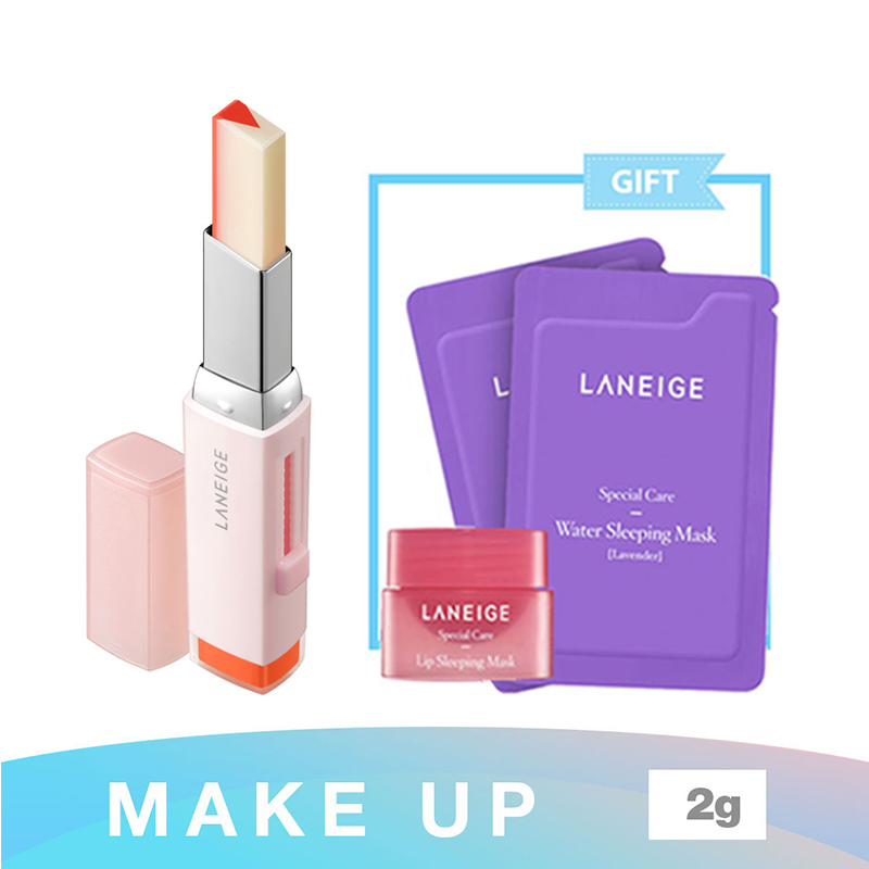 Laneige Two Tone Tint Lip Bar No 2 Tangerine Slice + Water Sleeping Mask Lavender 4Ml + Lip Sleeping Mask  3G