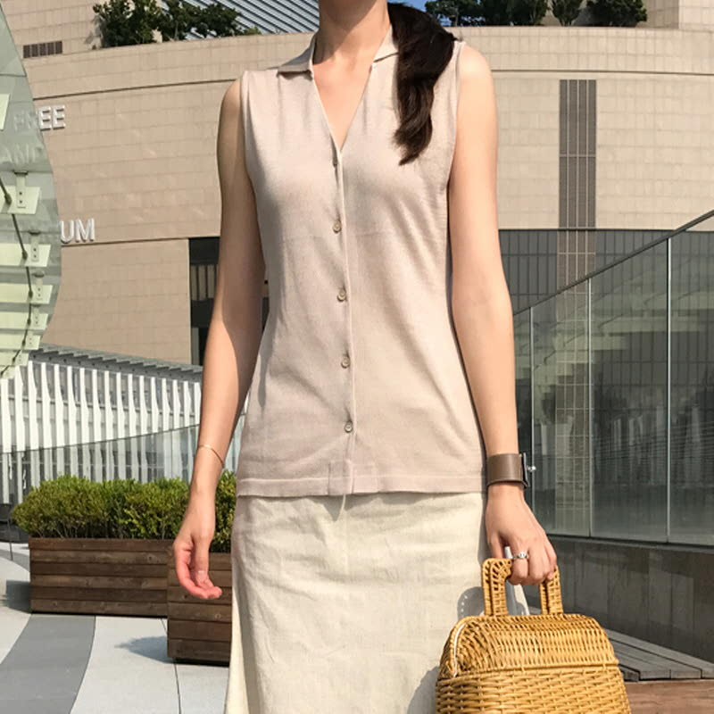 Collar Sleeveless Knit BEIGE