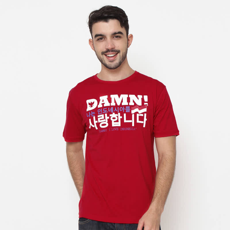 Tee M Damn Korea Red Hd White Male