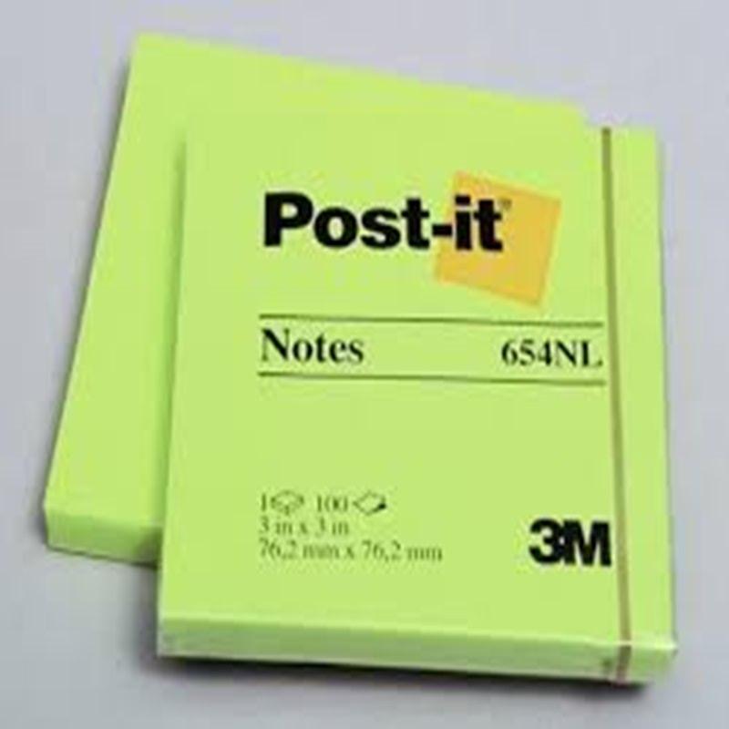 Post-It 654 NG Post It Notes Neon Green 3x3