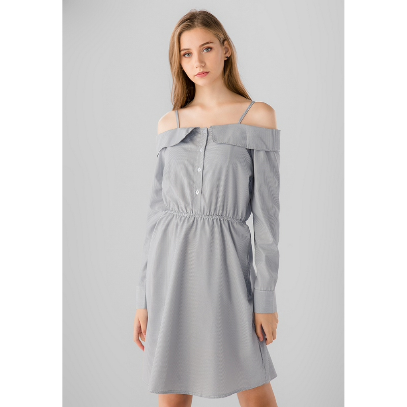 Lovadova Dana Off Shoulder Dress Grey