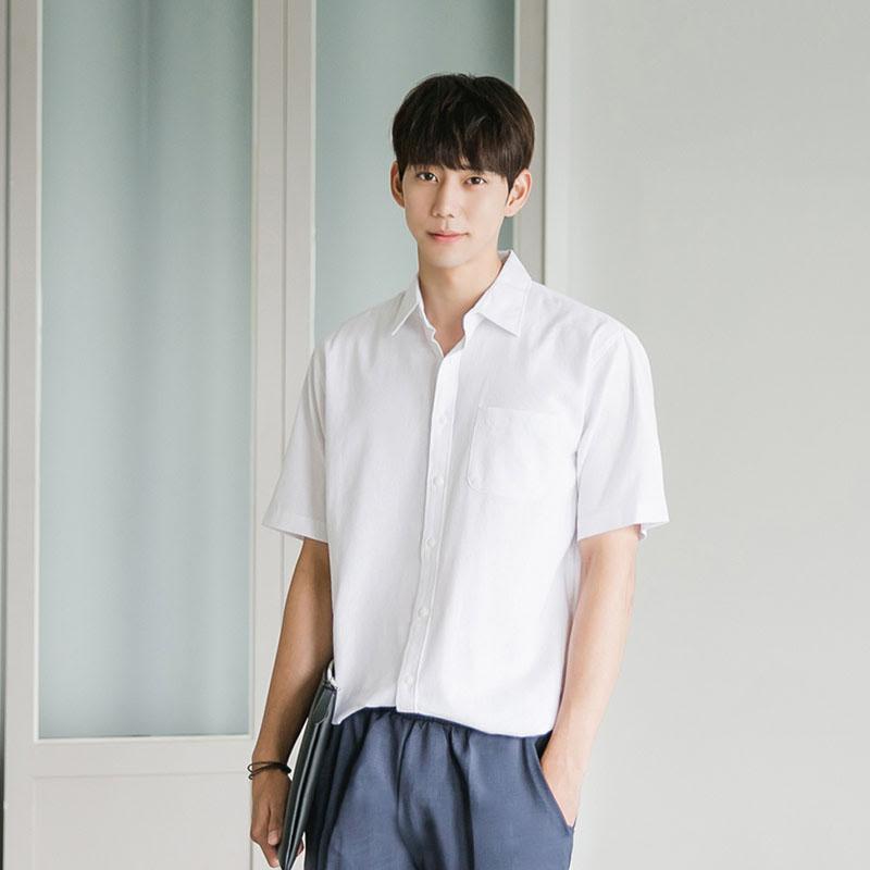 [BJ2645]Boxy 8 Color Linen Short Sleeve Shirt - White