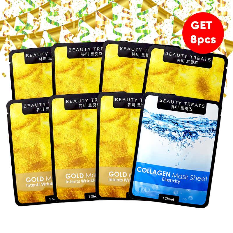 Beauty Treats Mask Sheet Gold (6pcs) FREE Mask Sheet Collagen + Gold